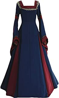 cosplaysky Womens Retro Renaissance Medieval Costume Long Flare Sleeve Gothic Victorian Fancy Dress