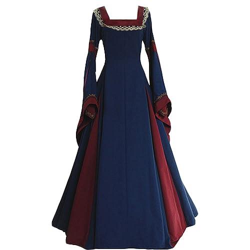 5d197fcae5bc Joyplay Women Medieval Costume Long Sleeve Vintage Dress Adult Flare Sleeve  Fancy Dress Square Collar Dress