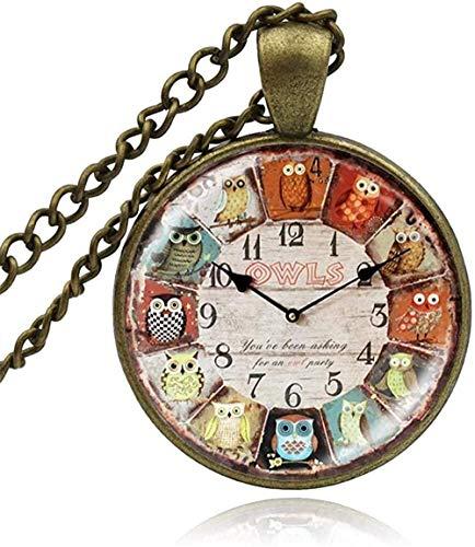 niuziyanfa Co.,ltd Reloj de búho de Cristal Vintage, Reloj de Bolsillo, Collar con cabujón, Colgante, joyería, Hombre, Mujer, artesanía Hecha a Mano, Collares DIY