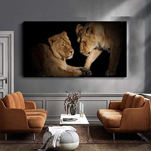 Cuadro En Lienzo León Pared Arte Imagen Sala de Estar decoración del hogar,50x90cm,Pintura sin Marco