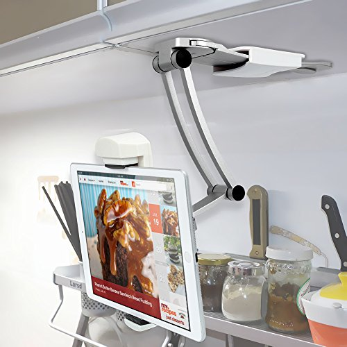 iKross 2-in-1 Kitchen Tablet Mount Stand, Kitchen Wall Mount / Countertop Rotating Holder Stand for Apple iPad, Samsung, LG, Huawei, Asus, Lenovo, Google, Microsoft -7 to 13 Inch Tablets – White
