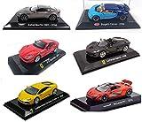 OPO 10 - Lote de 6 Autos 1/43 Compatible con Ferrari + Lamborghini + Aston Martin + McLaren