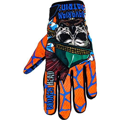Broken Head MX-Handschuhe Bavarian Patriot - Motorrad-Handschuhe Für Motocross, Enduro, Mountainbike - Blau - Orange (XL)