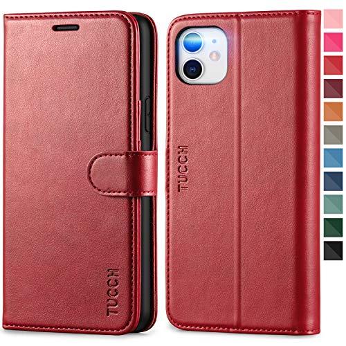 TUCCH Hülle für iPhone 11, Klappbare Handyhülle, RFID Schutzhülle [Schützt vor Stößen] [Magnetverschluss] [Kartenfach] [Verdicktes TPU] [Premium Leder] Lederhülle Case Cover für iPhone 11 (6,1), Rot