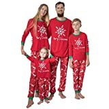 Gaowen Christmas Snowflake Print Family Fitted Daddy Mommy and Me Three Set Cartoon Santa Top and Pants Xmas Home Clothes Pajamas Red Sweatshirt (Men, XXL)