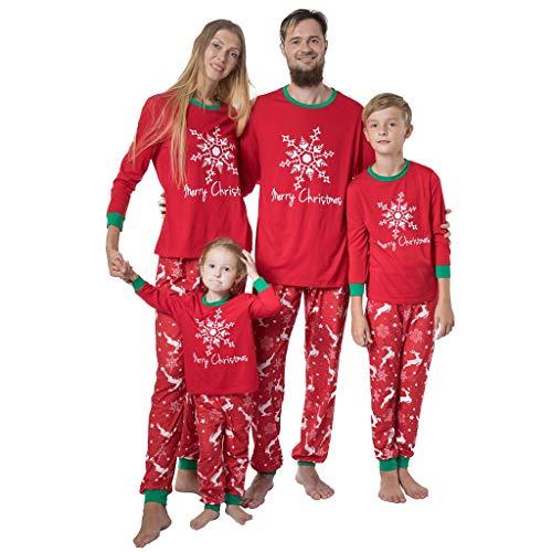 Familie Kerstmis Pyjama Set Pyjama Cartoon Sneeuwvlok Vrolijk Kerstmis Letter Gedrukt Top Tee+Broek Bottoms 2 Stks Pjs Outfits Katoen Slaapmode Papa Moeder Kids Baby Xmas Loungewear Nachtjapon
