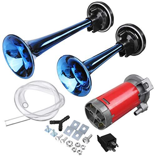 Viviance ZHVIVY 24V 178dB blauwe dubbele buis super luide luchthoorn met compressor voor auto-vrachtwagen-bootskabel
