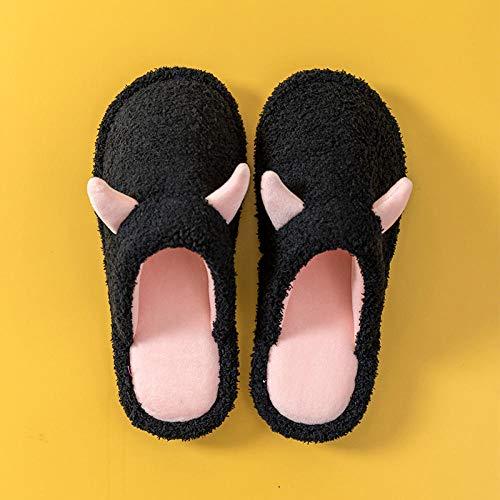 B/H Antideslizantes Zapatillas de Estar para Adulto,Zapatillas de algodón para decoración del hogar, Calidez Interior y Antideslizantes, Color a Juego-Polvo Negro_38-39