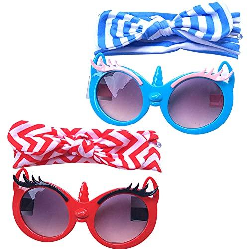 Gafas de Sol Para Niños,QSXX 2 Juegos Gafas de Sol Polarizadas Traje Unicornio de Dos Piezas Niños Gafas de Sol Niños a Granel Para Niñas Al Aire Libre Niños Gafas de Sol Niñas Rojo Azul