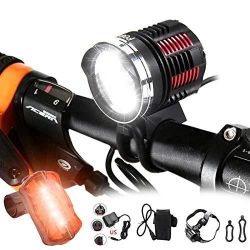 XWYWP Fahrradlicht wasserdichte helle 6000 Lumen LED Kopf Front Fahrrad Licht Scheinwerfer Bike Scheinwerfer + Batterie Set + Stirnband Hinterlicht