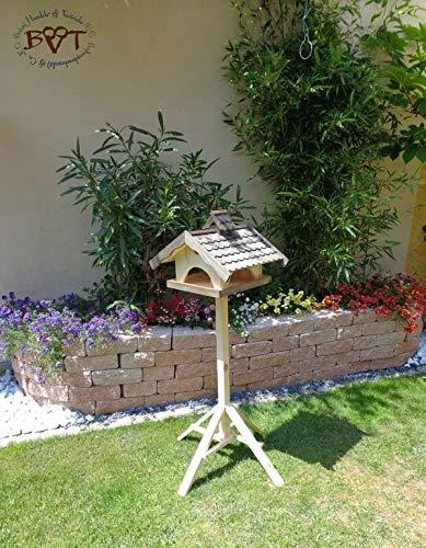 Vogelhaus XXL,MIT Nistkasten,K-VONI5-LOTUS-LEFA-at002,groß,wetterfest,PREMIUM-Qualität,Vogelhaus,mit wasserabweisender LOTUS-BESCHICHTUNG VOGELFUTTERHAUS + Nistkasten 100% KOMBI MIT NISTHILFE für Vögel WETTERFEST, QUALITÄTS-SCHREINERARBEIT-aus 100% Vollholz, Holz Futterhaus für Vögel, MIT FUTTERSCHACHT Futtervorrat, Vogelfutter-Station Farbe schwarz lasiert, anthrazit / Holz natur, Ausführung Naturholz MIT TIEFEM WETTERSCHUTZ-DACH für trockenes Futter - 3