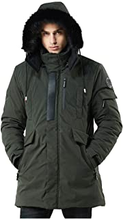 Men's Warm Parka Jacket Anorak Jacket Winter Coat with Detachable Hood Faux-Fur Trim