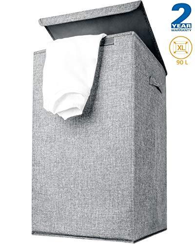 CLEEBOURG Wäschekorb mit Deckel, Wäschekörbe faltbar Wäschesack Wäschebox Wäschesammler Wäschetruhe mit Deckel Laundry Basket Bodenkorb 90L 63 * 38 * 38cm- Grau