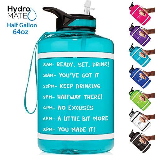 HydroMATE Wasserflasche mit Zeitmarkierung, 1,8 l, BPA-frei, mit Strohhalm und Griff, wiederverwendbar, auslaufsicher, mit Zeitmarkierung, Türkis
