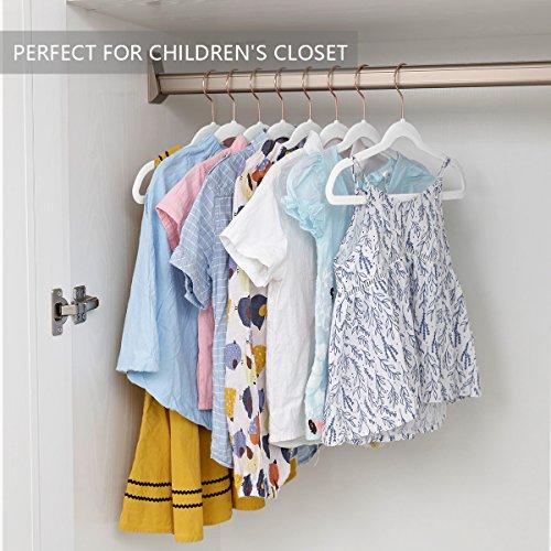 Pack of 50 with Copper//Rose Gold Hooks,Space Saving Ultra Thin,Non Slip Hangers use for Childrens Skirt Dress Pants,Clothes Hangers by MIZGI Premium Kids Velvet Hangers White