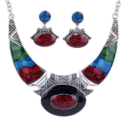 YAZILIND Étnico Multicolor En Relieve Oval Gangle Tibetano Astilla Bib Collar Pendientes Collar Conjunto de Joyas