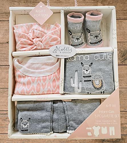 Welcome Baby Girl , Unique Baby Gift, Baby Girl Basket, Baby Girl Gift Box, Baby Girl Set, Infant, Newborn Girl Gift Set. Pink, Gray, White. 5 Piece Llama Layette Set. Bodysuit, legging, bib, headband, socks. 3-6 Months