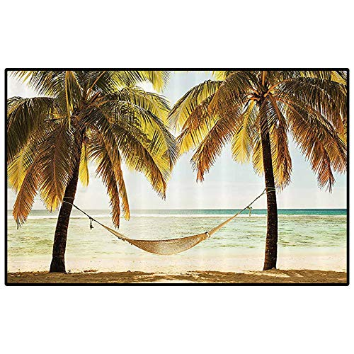 Beach Hammock Decor Ultra Soft Indoor Modern Area Rugs Seascape Hammock Palm Trees on Shore Tropical Beach Sunset Picture Carpets for bedrooms Ecru and Green