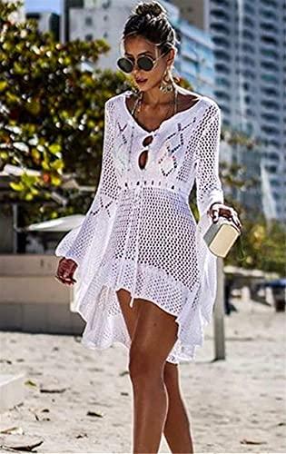 Jinsha Vestido de Playa - Mujer Pareos y Camisola de Playa Sexy Cover up, Talla unica, Blanco