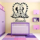 Applique Sticker mural Minnie Mouse Vinyl Nom Personalzied Mur Mural Fille Chambre Coeur Nom DIY Décoration Autocollant Adesivo...