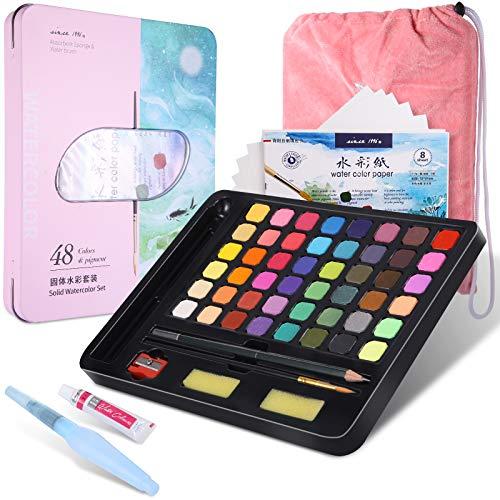 juehu Acquerello Set 48 Colori Solido pigmento Acquerelli Professionali Kit Pittura Professionale ad Acquerello,Accessori da Dipingere per Bambini e Artisti,Facile da Miscelare e Asciuga Rapidamente