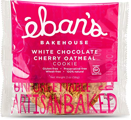 Eban's Fresh Baked Gluten-Free Cookies - 24 Large Cookies (2 Boxes of 12) - Soft and Chewy, Individually Wrapped, Gourmet, Preservative Free, Non-GMO (White Chocolate Cherry Oatmeal)
