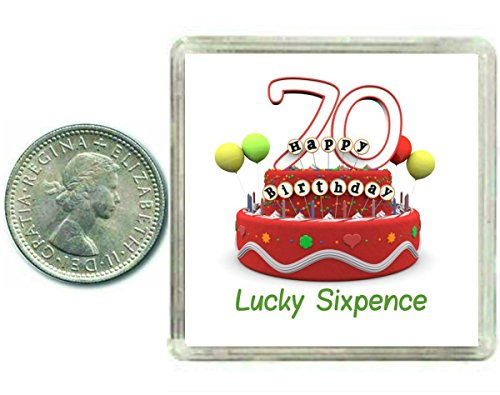 70th Birthday Lucky Sixpence Gift, Great good luck present idea for man or woman