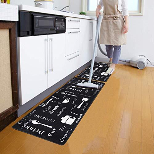 HEBE Anti Fatigue Kitchen Rug Set 2 Pieces Cushioned Kitchen Floor Mats Set Comfort Heavy Duty Standing Mats Waterproof Non Slip Kitchen Rugs and Runner Sets,Black Kitchen