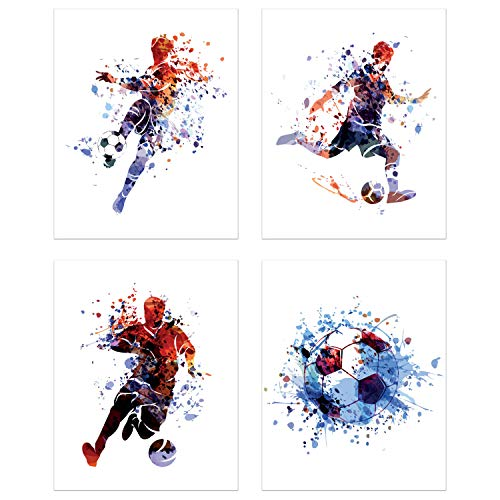 Soccer Watercolor Wall Art Prints - Particle Silhouette – Set of 4 (8x10) Poster Photos - Man Cave- Bedroom Decor