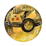 ポケモンゴーピカチュウ 壁掛け時計 おしゃれ デジタル ミュート 円形 掛け時計 置き時計 目覚まし時計 インテリア 装飾