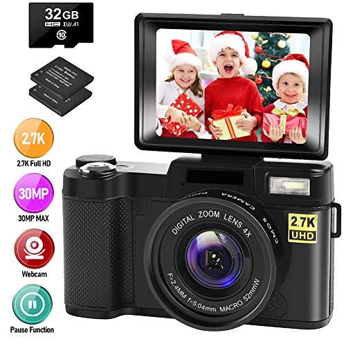petit un compact Caméra numérique Caméra vidéo blog Caméra 30MP full HD 2.7K (avec écran pliant à 180 °)…