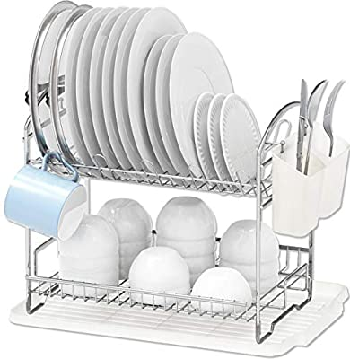 Simple Houseware 2-Tier Dish Rack with Drainboard, Chrome