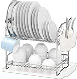 Simple Houseware 2-Tier Dish Rack with Drainboard, Chrome