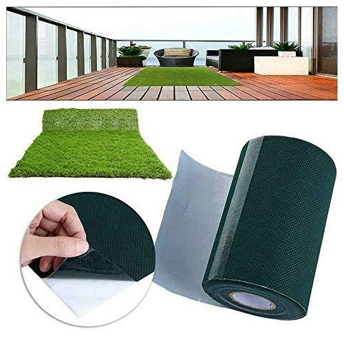 Kunstrasenfugenband - Komfort Kunstrasen | wetterfest & schnelltrocknend | Rasenteppich für Terrasse, Balkon und Freizeit (Grün -15m)