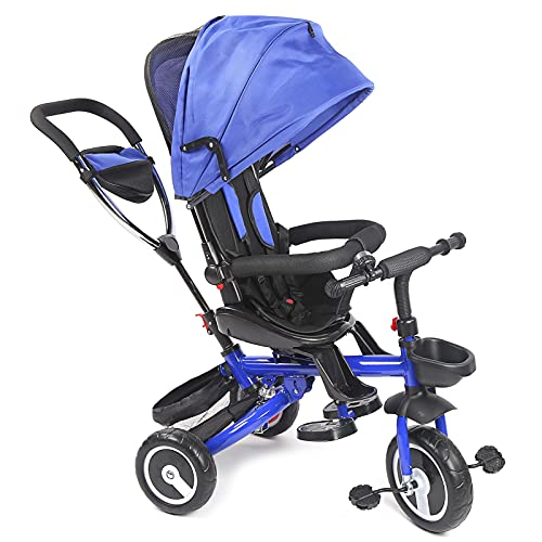 Yosoo Health Gear Cochecito de bebé Cochecito de bebé portátil Estructura Estable Putter Incorporado Compacto Fuerte Soporte de Carga Exterior para el hogar(Blue, White)