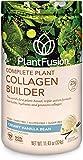 PlantFusion Collagen Builder Plant Based Peptides Protein Powder | Vegan Collagen Supplement |Collagen Building, Skin Hydration, Joint Support, Healthy Hair, Gluten-Free, Non-GMO, Vanilla, 11.43 Oz