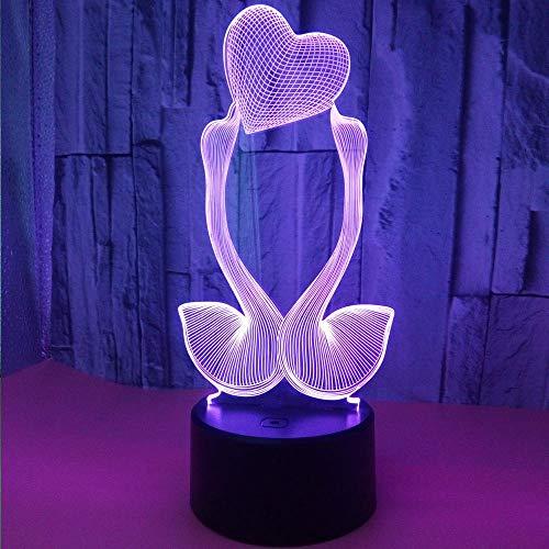 3D liefdesschommel nachtlampje USB drijfvermogen kleurrijk aanrakbaar LED kijklicht cadeau-sfeer-decoratie-kleine tafellamp aan