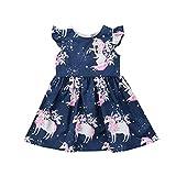 Wang-RX Kinder Baby Mädchen Kleid Mädchen Kind Blumen Einhorn gedruckt Casual Kleider Kleidung...