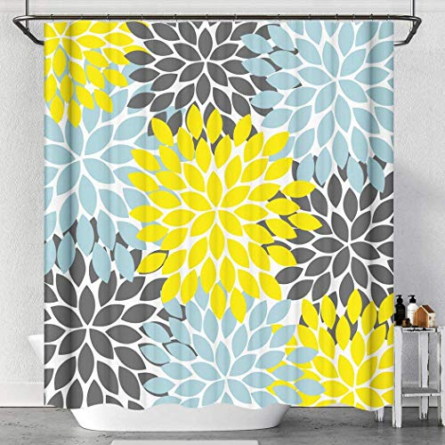 Raymall Yellow Gray Shower Curtain Dahlia Flower Floral...