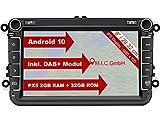 M.I.C. AV8V6-lite Android 10 Autoradio mit navi Ersatz für VW Golf t5 touran Passat RNS RCD Skoda SEAT: DAB Plus Bluetooth 5.0 WiFi 2 din 8' IPS Bildschirm 2G+32G USB Rückfahrkamera europakarte