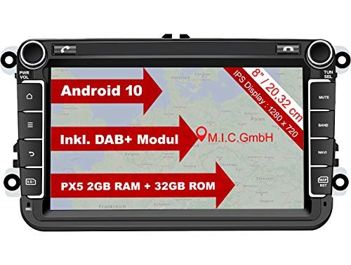 M.I.C. AV8V6-lite Android 10 Autoradio mit navi Ersatz für VW Golf t5 touran Passat RNS RCD Skoda SEAT: DAB Plus Bluetooth 5.0 WiFi 2 din 8