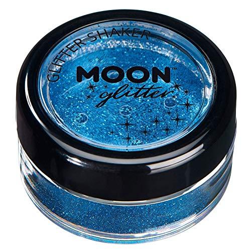 Secoueurs à paillettes fines par Moon Glitter (Paillette Lune) – 100% de paillettes cosmétique pour le visage, le corps, les ongles, les cheveux et les lèvres - 5g - Bleu