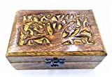 Caja de madera hecha a mano, diseño de árbol tallado, árbol de la vida.
