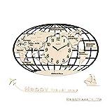 LHGXQ-Dp Reloj Cuarzo Decorativo Mapamundi, Reloj Pared Decorativo 3D Silencioso...