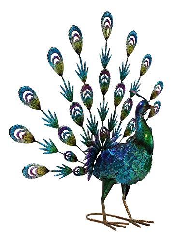 JacksGifts Hand Painted Metal Fantail Peacock – Garden Metal Statues – Bird Decorative Sculpture Ornament – Fantail Peacock Garden Statue Sculpture- Metal Fantail Peacock Yard Art for Indoor Outdoor