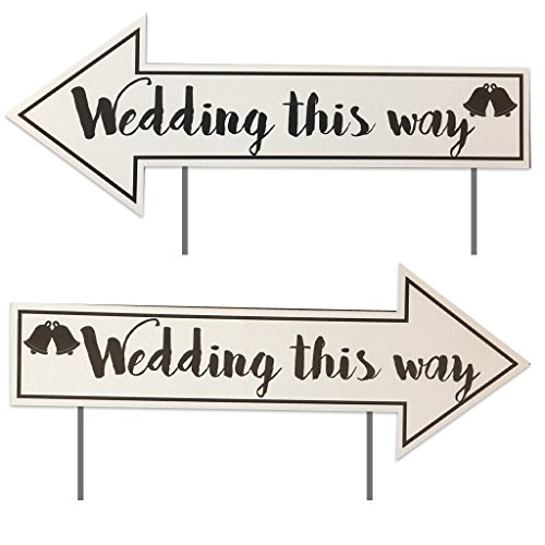 "VICTORYSTORE.COM Wedding Directional Signs (2 Pack) with 2 Stakes per Sign - 23""x9"" - Corrugated Plastic"