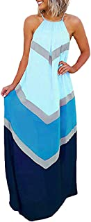 Womens Halter Striped Color Patchwork Pleated Back Hollow Out Maxi Long Dresses