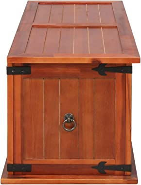 """Canditree Vintage Storage Trunk Solid Acacia Wood, Storage Chest, Organizer Box for Clothes, Toys (35.4""""x17.7""""x15.7&#"""