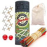 Jacks Game and Wooden Pick Up Sticks Combo Pack. 12 Metal Gold and Silver Jax. 2 Sizes of red high Bounce Balls. 40 Pick Up Sticks. Fun Retro Kids Games and Family Games by Dr. Rocket
