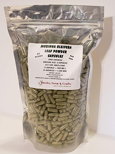 Moringa Oleifera Leaf Capsules Non GMO - All Natural- 100% Pure Leaf Powder! (1000) - Made Fresh ON Demand!